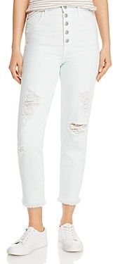 J Brand Heather Ripped Button-Fly Jeans in Hydrosphere Destruct