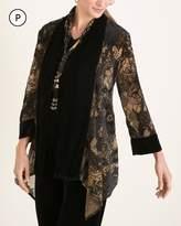 Travelers Collection Petite Goldtone Printed Velvet Jacket