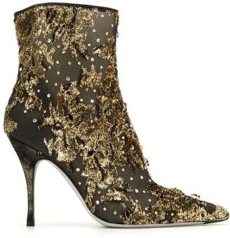 Rene Caovilla Lurexa 100mm embroidered ankle boots