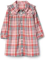 Gap Plaid ruffle bib shirtdress