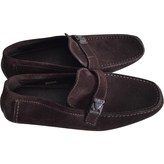 Louis Vuitton Chocolate brown suede moccasins.