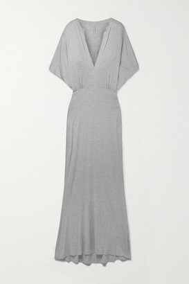 Norma Kamali Obie Melange Stretch-modal Jersey Maxi Dress - Gray