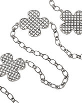 Silver Long Iron Clover 3-way Necklace