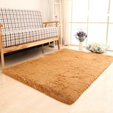Generic Super Soft Modern Shag Area Rugs Living Room Carpet Bedroom Rug for Children Play Solid Home Decorator Floor Rug and Carpets 4- Feet By 5- Feet (Khaki)