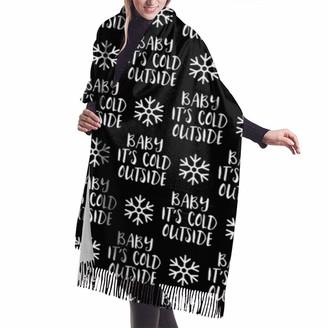 Rcivdkem Baby It'S Cold Outside Black Christmas Winter Holiday Shawl Wrap Winter Warm Scarf Cape Large Soft Cozy Cashmere Scarf Wrap Womans Warm Shawl Stole