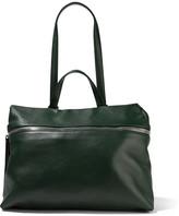 Kara Satchel Textured-leather Shoulder Bag - Forest green