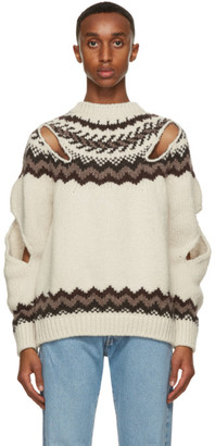Stefan Cooke Off-White and Brown Wool Slashed Sweater
