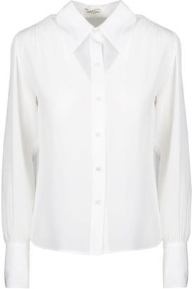 Saint Laurent Crepe De Chine Shirt With Oversize Collar