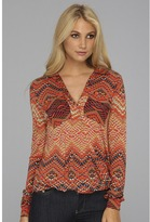 LAmade Collared Drape Top With Pockets (Diamond Aztec Jersey) - Apparel