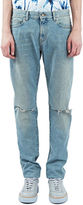 Saint Laurent Men's Low Waisted Washed Jeans In Blue