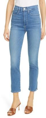 Frame Le Sylvie Slit Rivet High Waist Ankle Straight Leg Jeans