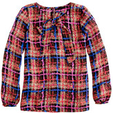 J.Crew Collection bow blouse in electric plaid