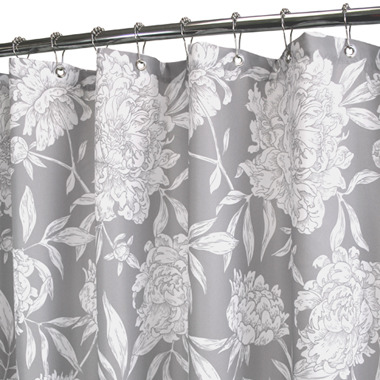 """B. Smith Park Peony Silver 72"""" x 72"""" WaterShed® Shower Curtain"""