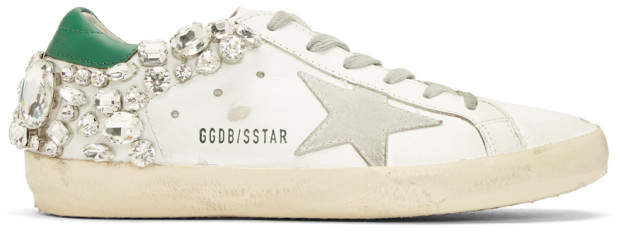 Golden Goose White and Green Diamond Superstar Sneakers
