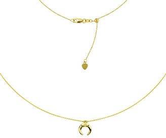 "Curata 14k Yellow Gold 0.01 Dwt Diamond Half Celestial Moon Choker Adjustable Necklace, 16"""