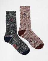 Original Penguin 2 Pack Boot Socks In Gift Box - Red