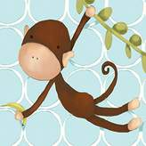Oopsy Daisy Fine Art For Kids Hanging Monkey Blue by Meghann O'Hara Canvas Wall Art, 10 by 10-Inch