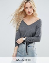 Asos The New Forever T-Shirt With Long Sleeves and Dip Back