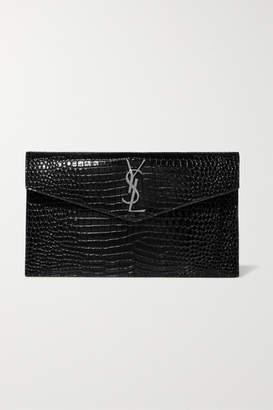 Saint Laurent Uptown Croc-effect Patent-leather Clutch - Black