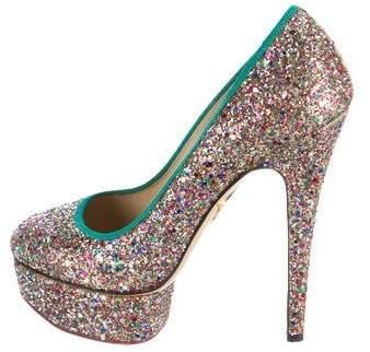 Charlotte Olympia Glitter-Embellished Platform Pumps
