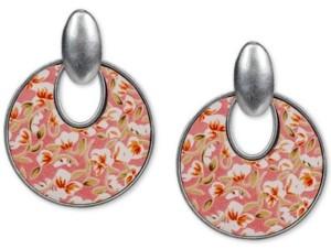 Patricia Nash Silver-Tone Rose-Print Leather Inset Doorknocker Drop Hoop Earrings