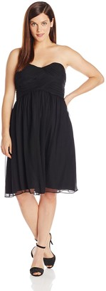 Donna Morgan Women's Plus-Size Strapless Sweetheart Chiffon Dress