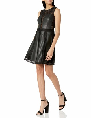 BCBGMAXAZRIA Azria Women's Basanti Faux-Leather-Trimmed Dress