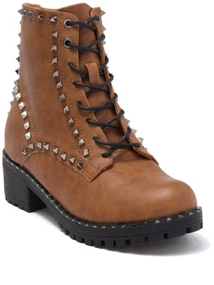 Chase & Chloe Studded Combat Boot