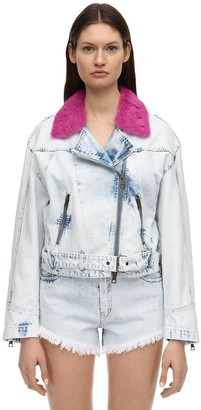 Simonetta Ravizza Denim Biker Jacket W/ Mink Collar
