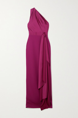 SOLACE London Mara One-shoulder Draped Satin And Crepe Gown - Magenta