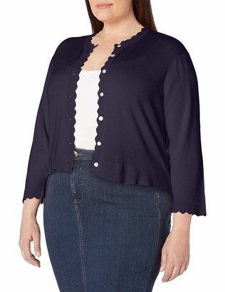 Ronni Nicole Women's Plus Size Scallop Trim Cardigan