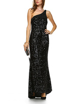 Daisy Black Sequins One-Shoulder Gown