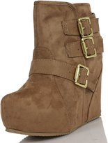 Soda Sunglasses Women's Besso Faux Suede Triple Buckle Platform Wedge Ankle Bootie Boot