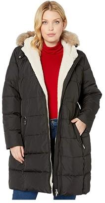 Lauren Ralph Lauren Plus Size Heavy Down with Berber Trim (Black) Women's Clothing