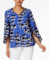 Alfani Printed Split-Sleeve Blouse, Only at Macy's