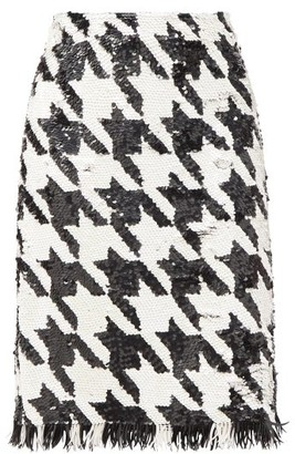 Ashish Fringed Houndstooth-sequinned Skirt - Black White