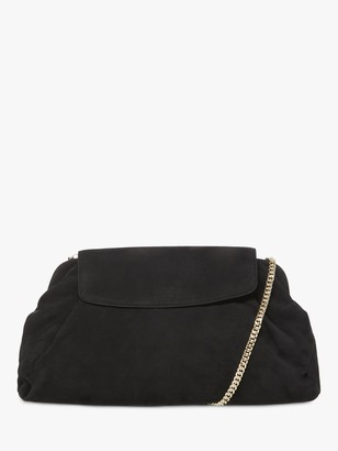 Dune Enlightened Voluminous Suede Clutch Bag, Black