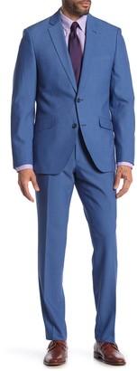 Savile Row Co Hoxton Blue Solid Two Button Notch Lapel Slim Fit Suit