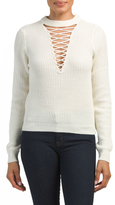 Juniors Lace Up Sweater