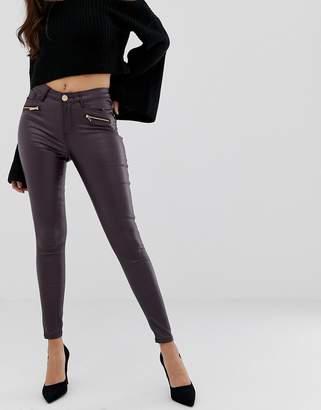 Lipsy coated skinny jeans in regular-Red