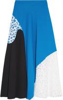 Emilio Pucci Lace-paneled crepe midi skirt