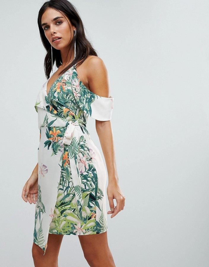 Adelyn Rae Prescilla Print Wrap Dress-Multi