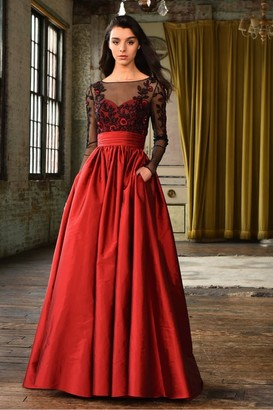 Theia Red Long Sleeve Floral Bodice Evening Gown