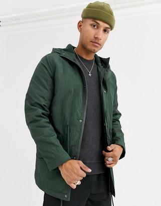 ASOS DESIGN parka jacket in bottle green with fleece lining