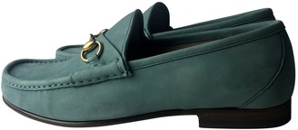 Gucci Jordaan Green Suede Flats