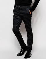 Selected Brushed Check Pants in Skinny Fit