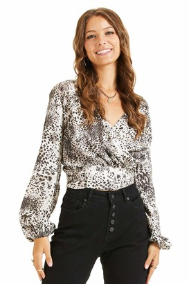 SONJA BETRO Women's Leopard Print V-Neck Long Sleeve Chiffon Blouse Top Shirts X-Large Grey & White