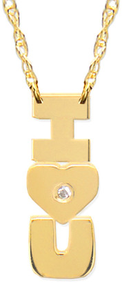 Jane Basch 14K Diamond I Heart U Vertical Necklace