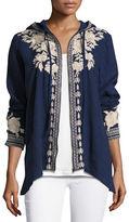 Johnny Was Carmelita Linen Hooded Zip-Front Jacket