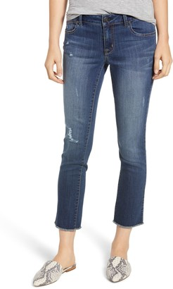 1822 Denim Distressed Ankle Straight Leg Crop Jeans